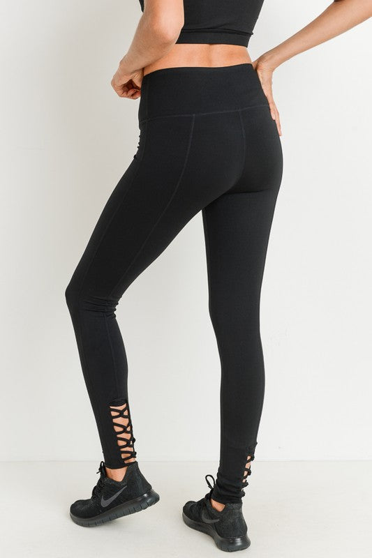 Highwaist Lattice Back Solid Full Leggings
