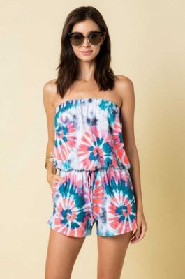 BOHEMIAN PRINT OFF SHOULDER ROMPER WITH POCKET