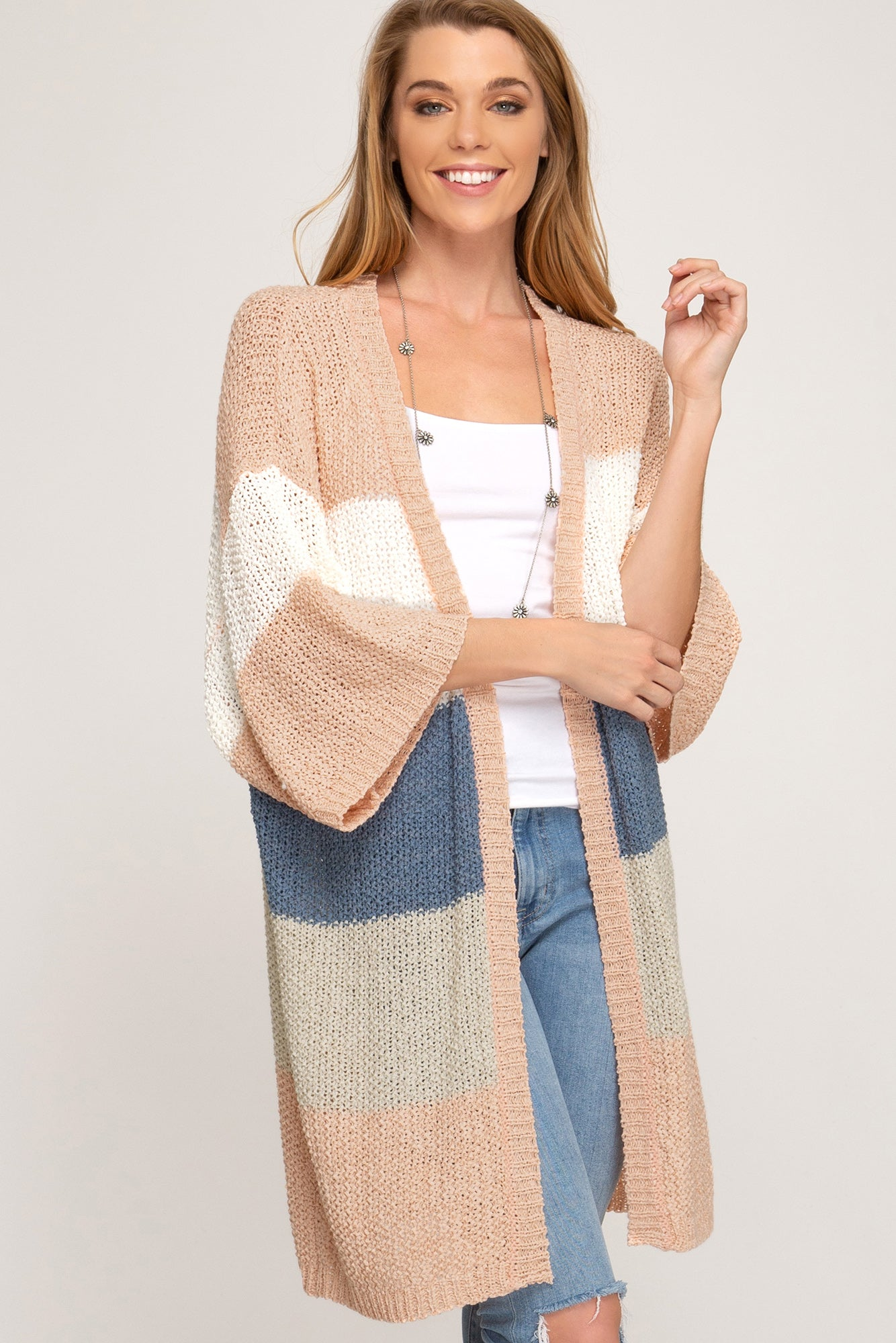 HALF SLEEVE MULTI STRIPED OPEN FRONT SWEATER CARDIGAN