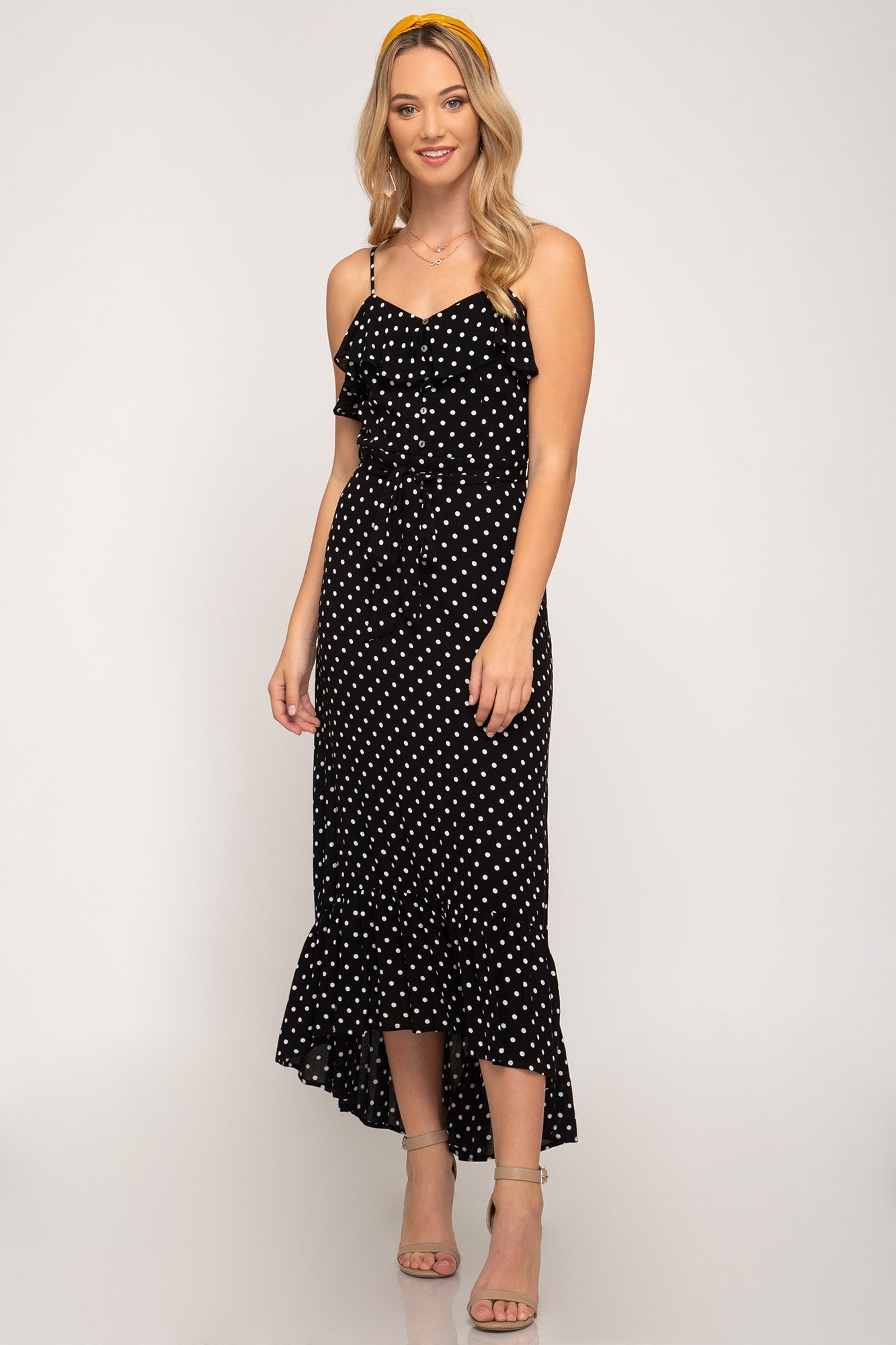 RUFFLED POLKA DOT WOVEN CAMI HI LOW MAXI DRESS