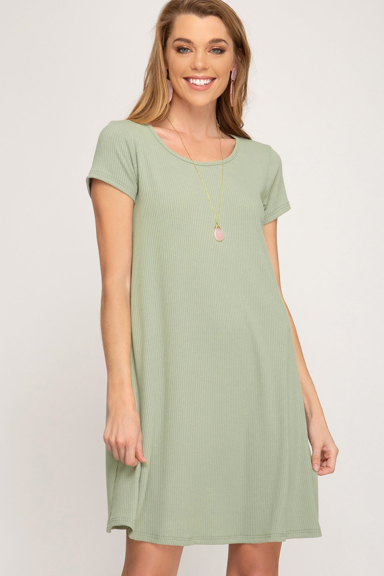 SHORT SLEEVE BASIC RIB KNIT DRESS