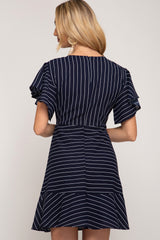 Flutter Short Sleeve Striped Knit Dress