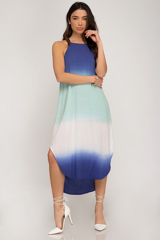Ombre Dyed Woven Midi Dress