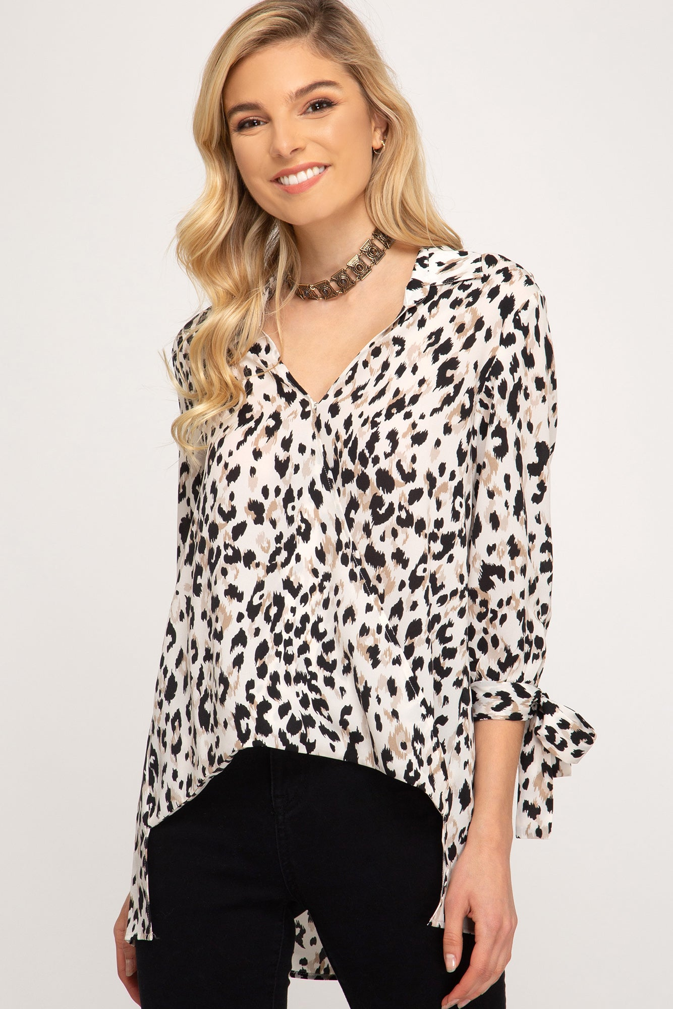 3/4 Sleeve Hi Low Leopard Top