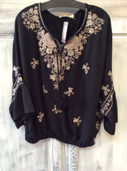 Embroider Peasant Top