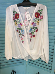 Floral embroidered long puff