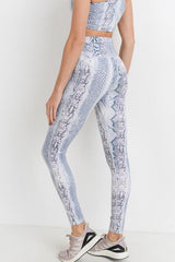 Blue snake print leggings