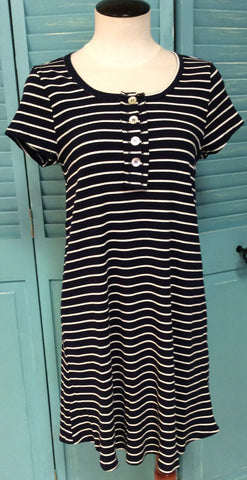 Button Front Striped Dress