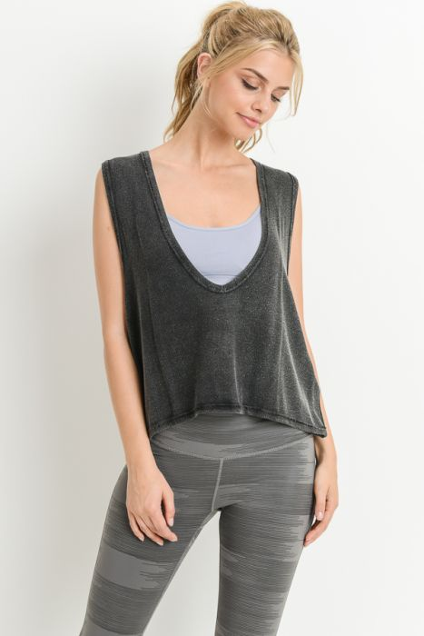 Swoop V-Neck Hi-Lo Crop Muscle Tank