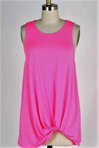SOLID SLEEVELESS TUNIC TOP WITH TWIST HEM