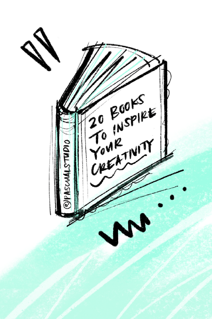 "Doodle of book with title ""20 Books to Inspire Your Creativity"""