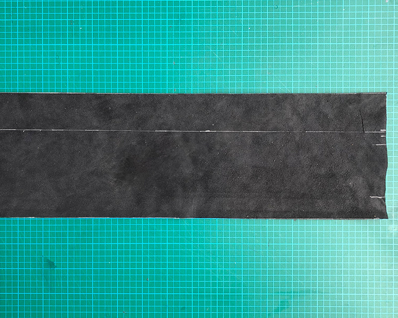 Photo of leather piece on cutting mat