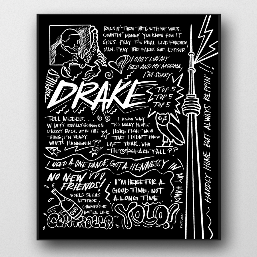 A hand-drawn, black and white Drake poster inspired by his songs from Views, Nothing Was The Same, More Life, If You're Reading This It's Too Late, and more! Features drawings of CN Tower, OVO logo, Scorpion, YOLO, Controlla, and Drake quotes.