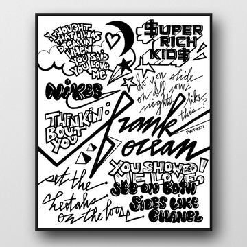 A hand-drawn, black and white Frank Ocean poster inspired by his music from Channel Orange, Blond(e), and more. Features lettering and quotes from Nikes, Thinkin Bout You, Pyramids, Super Rich Kids, Slide, etc.