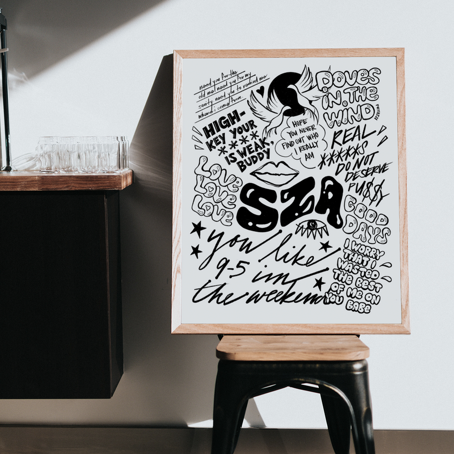 A hand-drawn, black and white SZA poster inspired by Good Days, Love, Doves in the Wind, The Weekend, and more! Features drawings of doves, lips, and lettering of SZA quotes and lyrics.