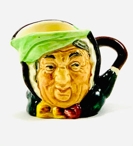 Royal Doulton Sairey Gamp Character Jug - Mini Character from Literature in Black, Light Green, Dark Green, Yellow, and Burgundy
