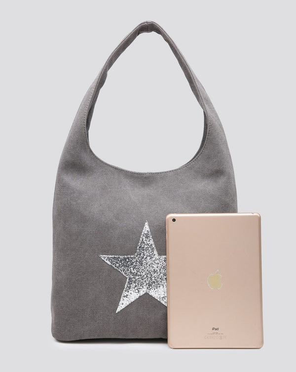 Grey Canvas Star Tote Bag