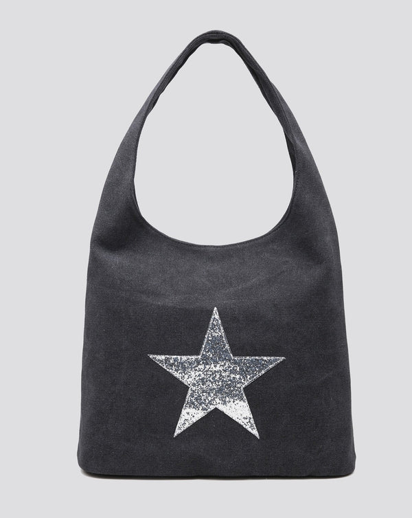 Dark Grey Canvas Star Tote Bag
