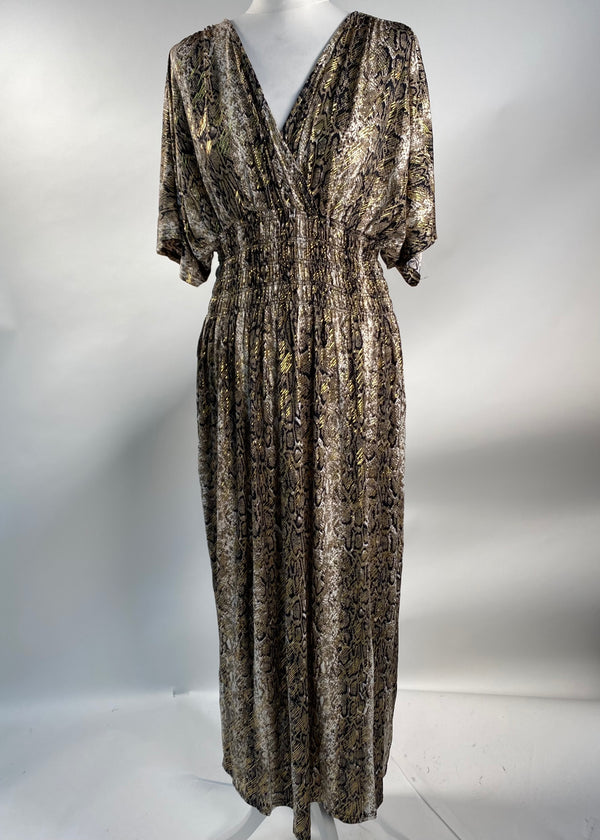 Alice Taupe Snake Print Maxi Dress