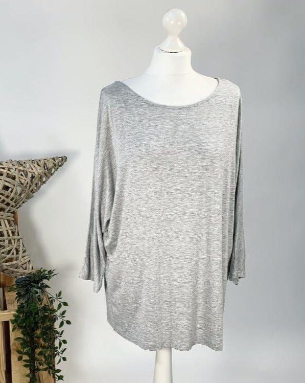 Marl Grey Basic Batwing Top
