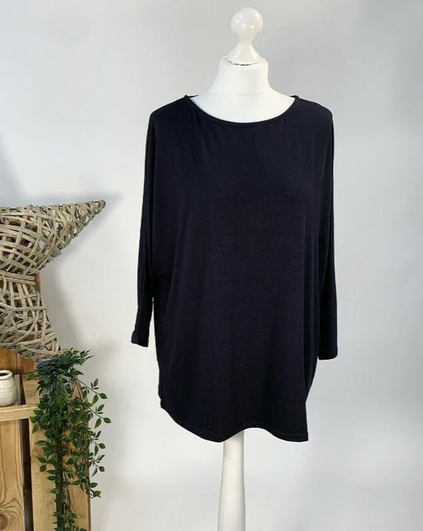 Black Basic Batwing Top