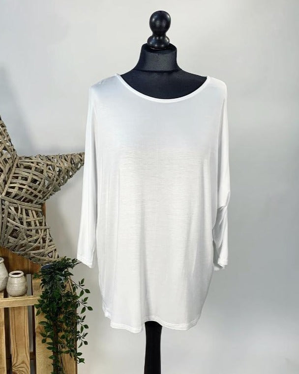 White Basic Batwing Top