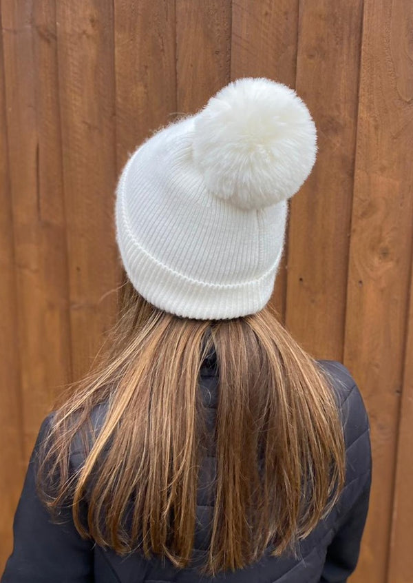 Winter White Pom Pom Hat
