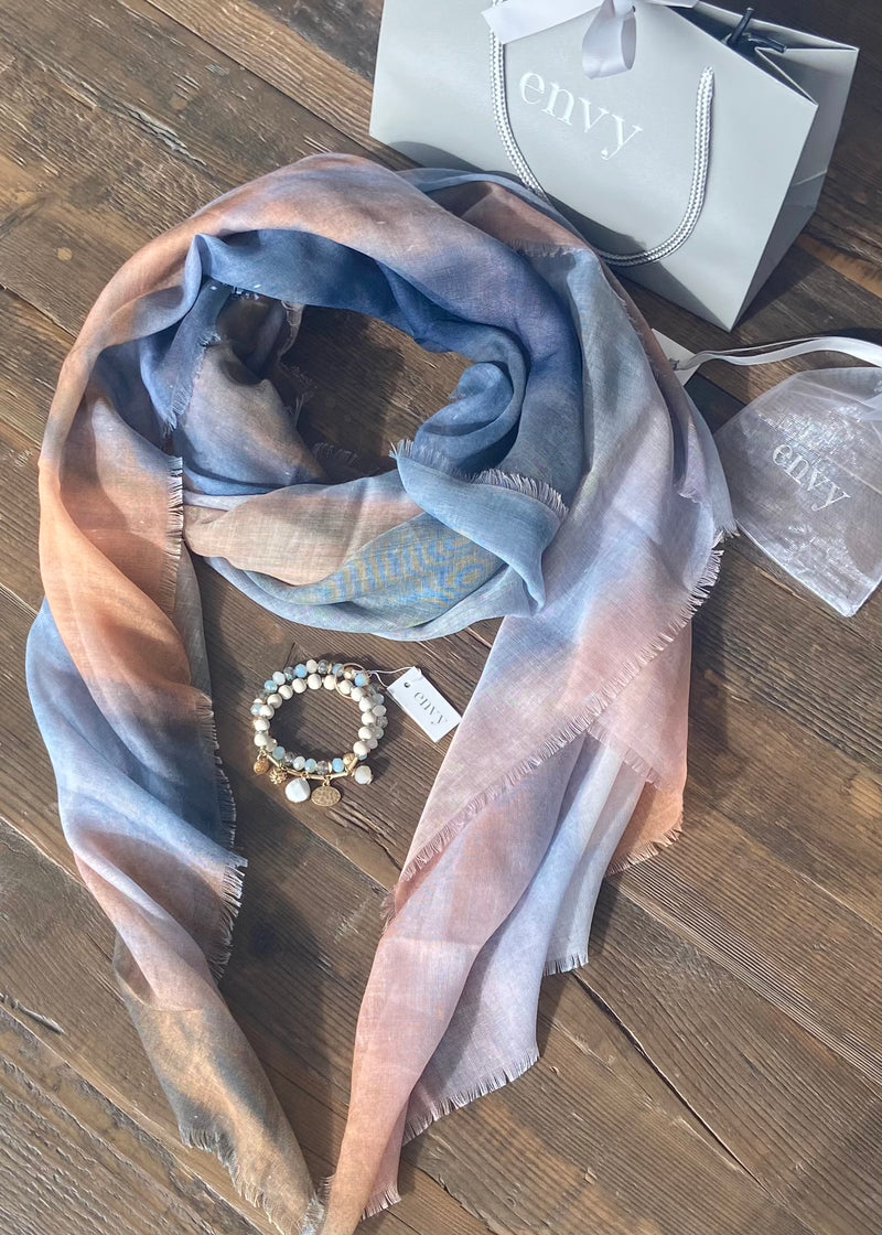 Denim and Tan Scarf with Bracelet Set