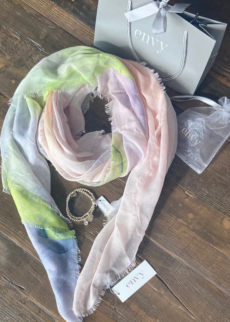 Pink, Lime and Purple Scarf with Bracelet Set
