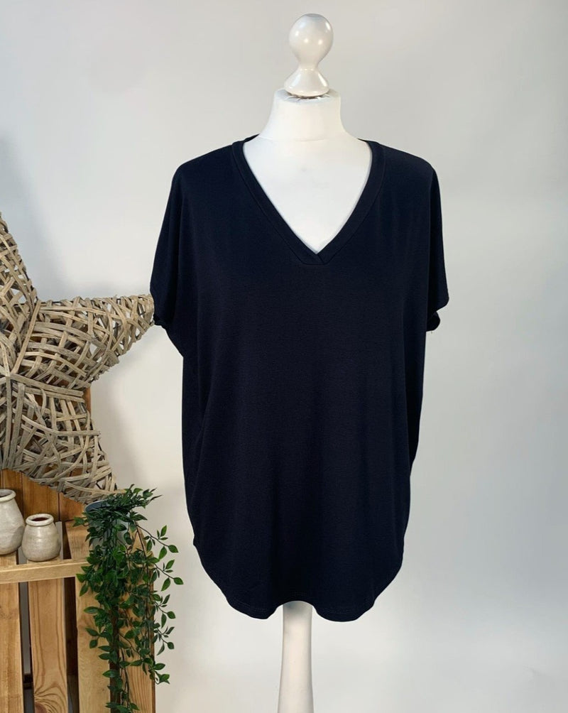 Black Basic V Neck T-Shirt