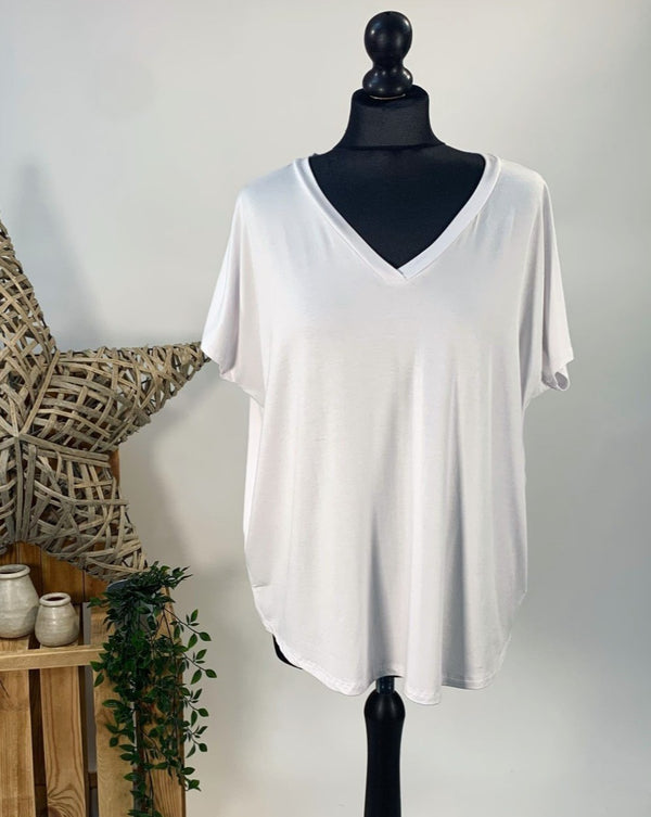 White Basic V Neck T-Shirt