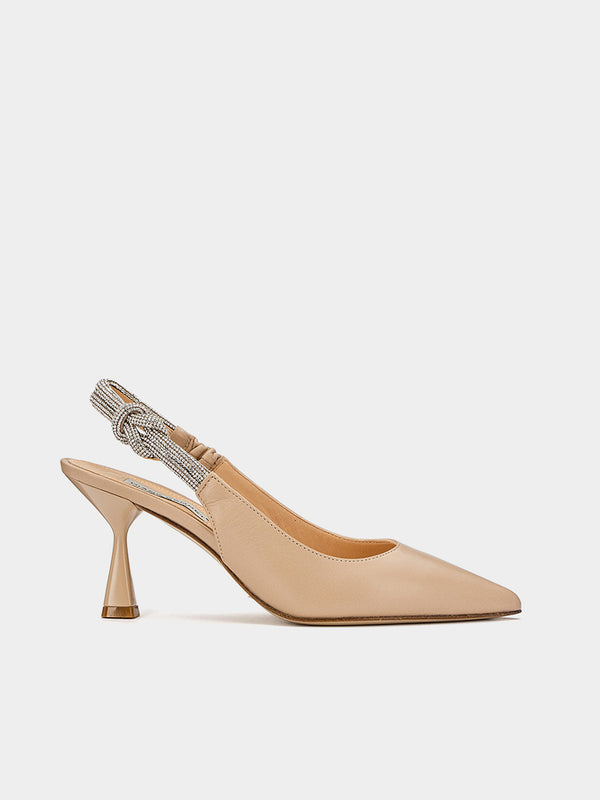 Slingback nude con strass