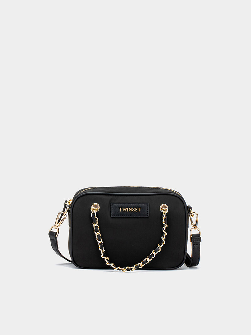 Borsa a tracolla in nylon nero