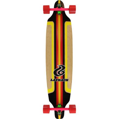 "LAYBACK FINISH LINE BAMBOO DT LONGBOARD COMPLETE - 9.5"" RED"