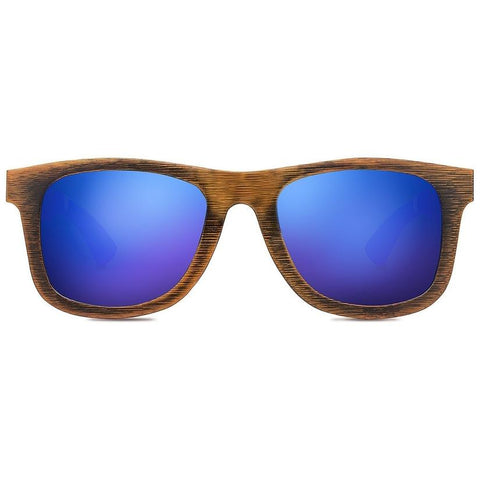 Castaway Sunglasses - Golden Bamboo Pacific Blue Lenses