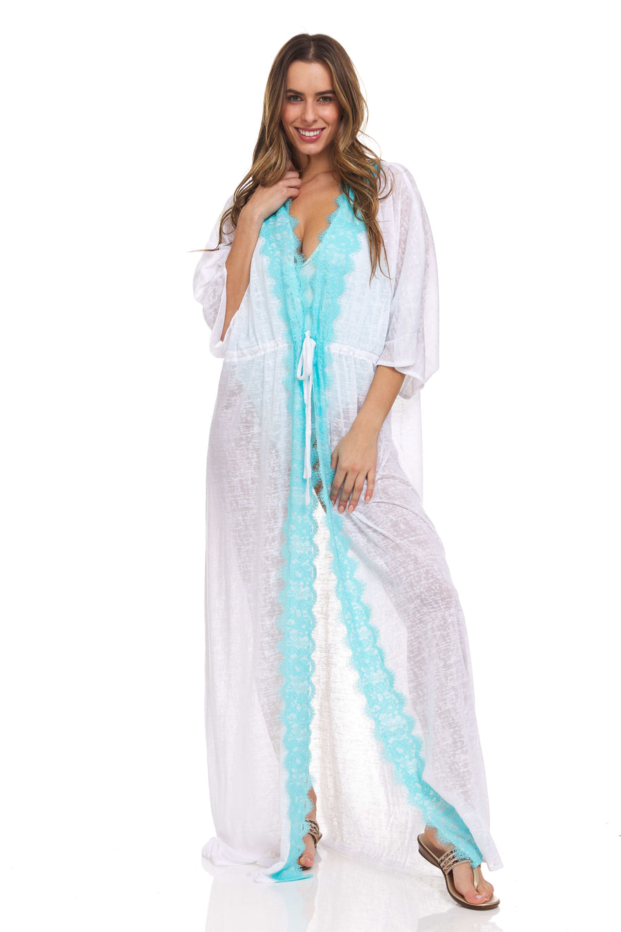 Lace Trim Maxi Robe Hot Pink