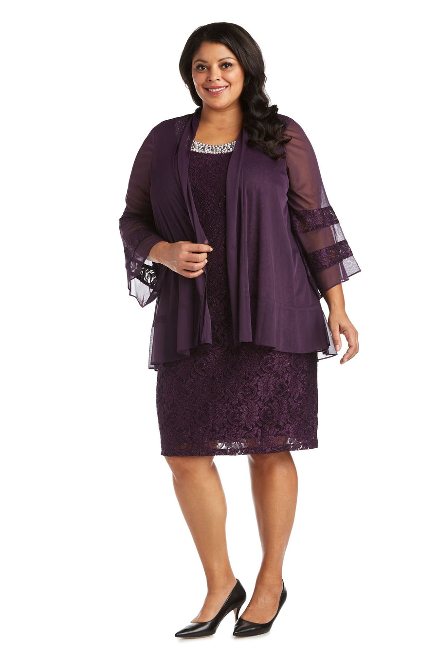 Chiffon Jacket and Dress with Bell Sleeves - Plus Plum