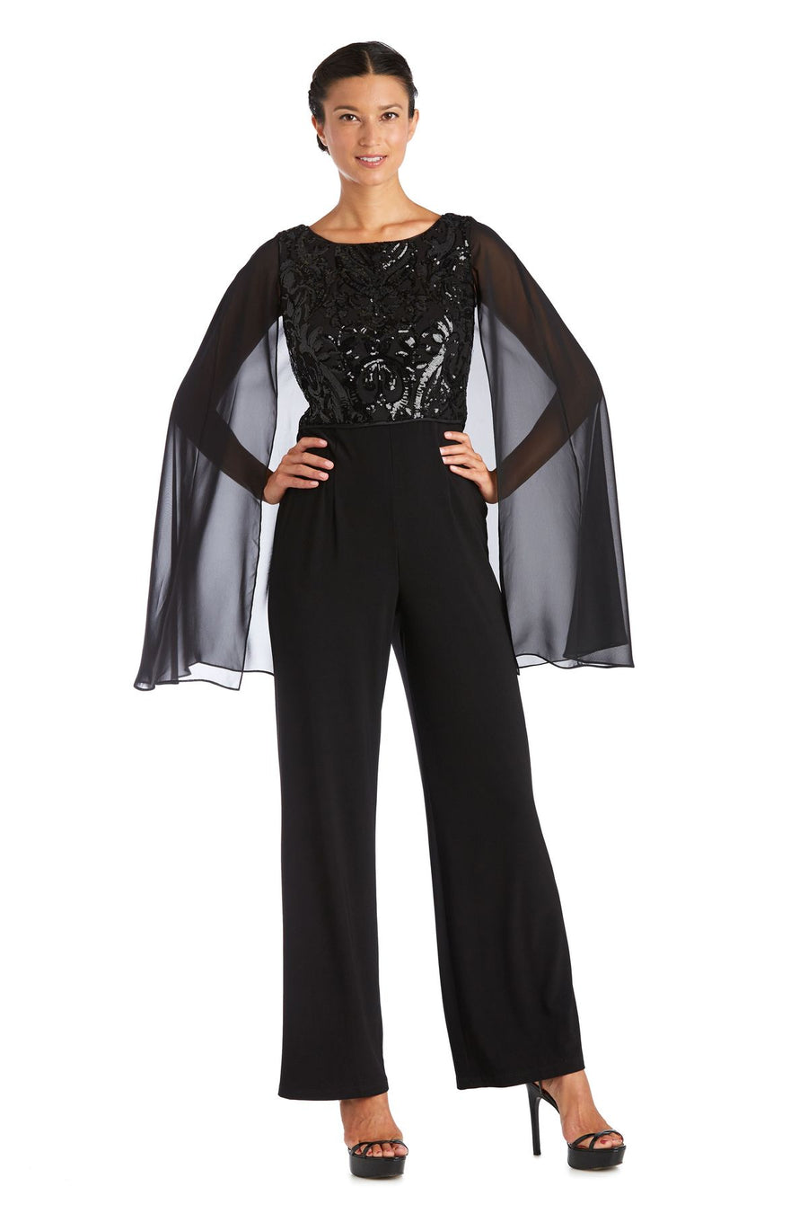 Scroll Panel EMB Sequin Power Mesh Capelet Jumpsuit