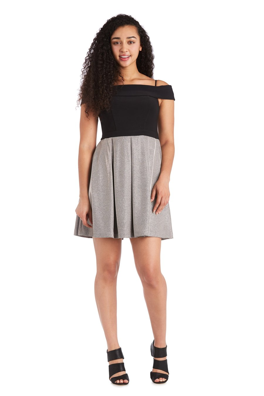 Morgan & Co. Off the Shoulder Bodice with Short Shimmer Skirt