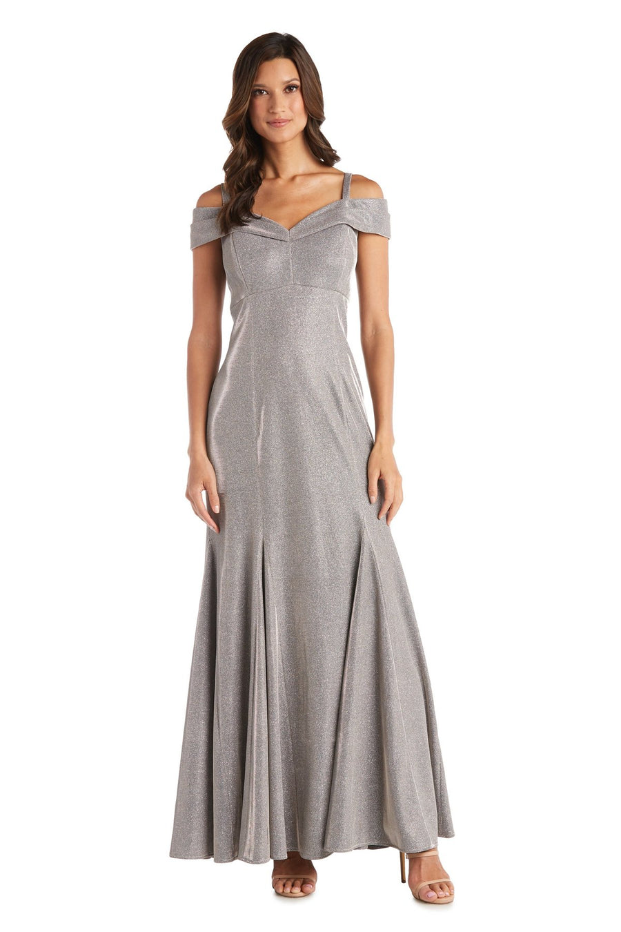 Off-the-shoulder Gown with Fishtail and Metallic Finish Scarlet