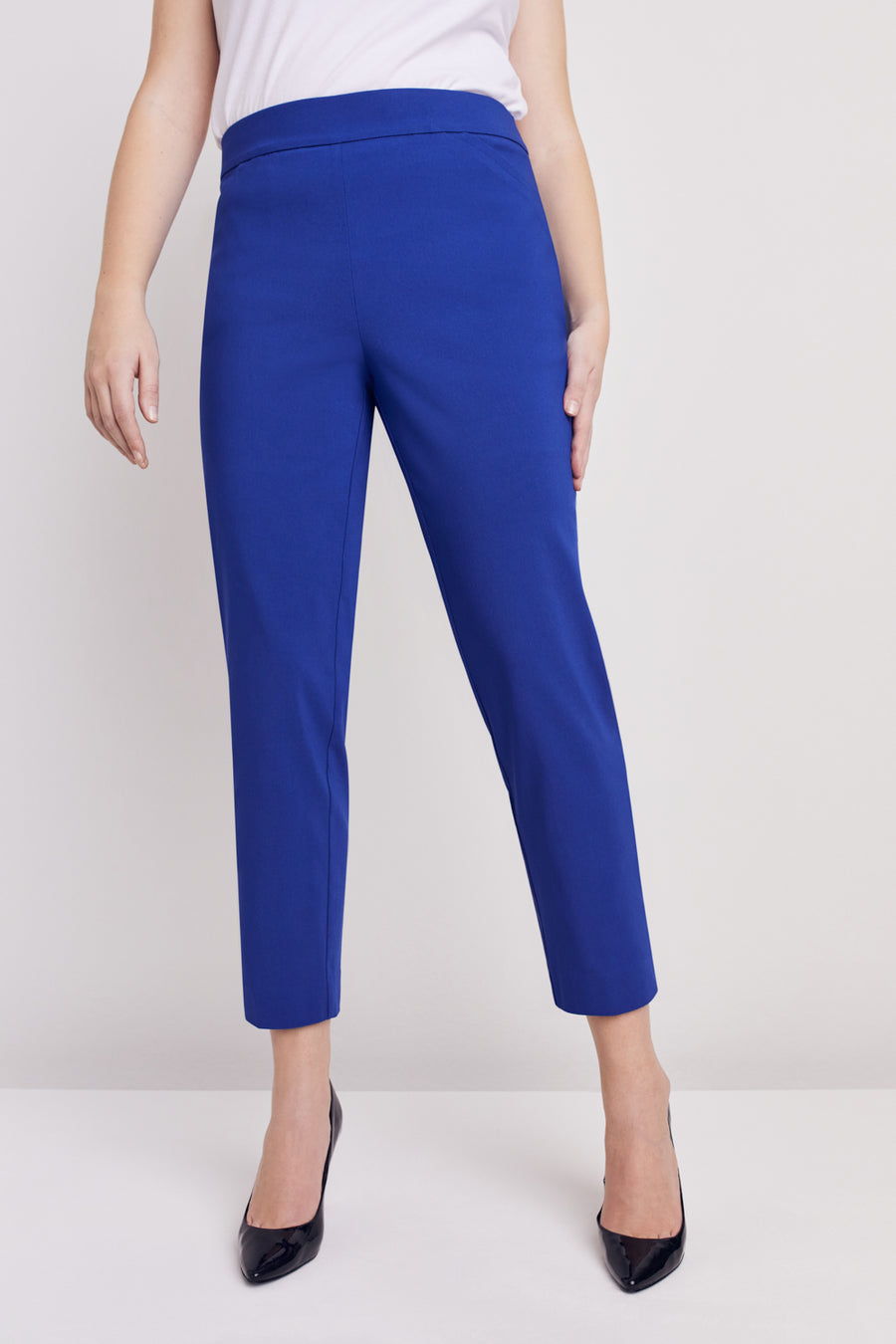 Petite  Super Stretch Tummy Control Pant with Cat Eye Pockets and Ankle Slits - Petite Marine Blue