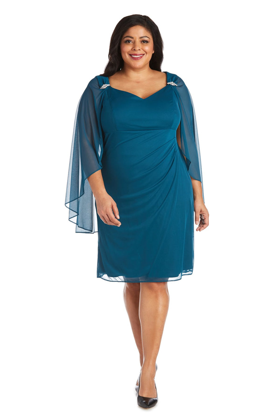 Short Empire Sweetheart Neck Dress with Sheer Cape - Plus Peacock