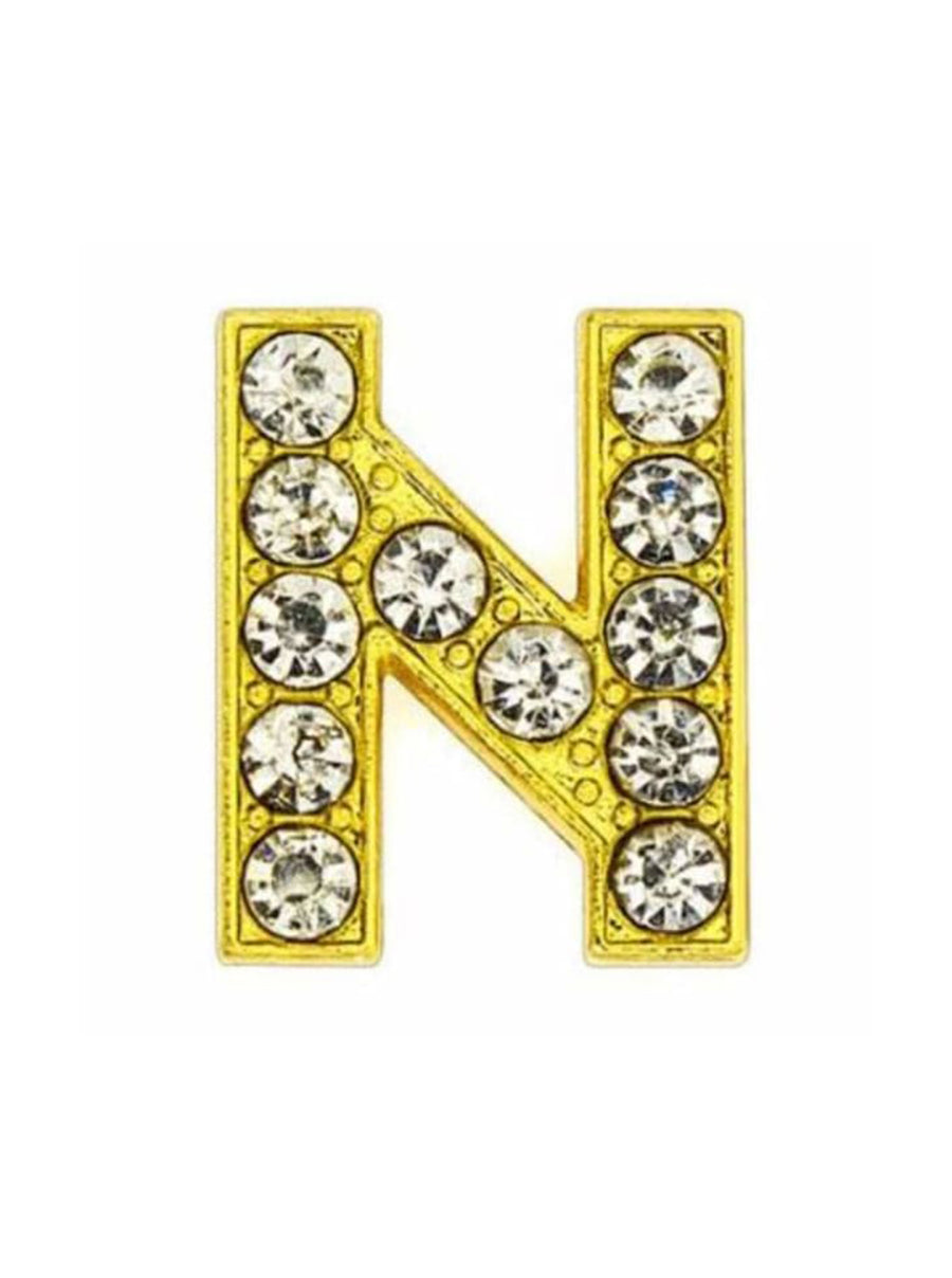 Pave Letter N - Gold Charm