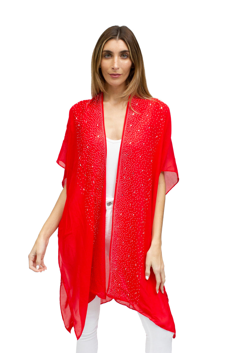 Border Wide Galaxy Kimono Red / Silver