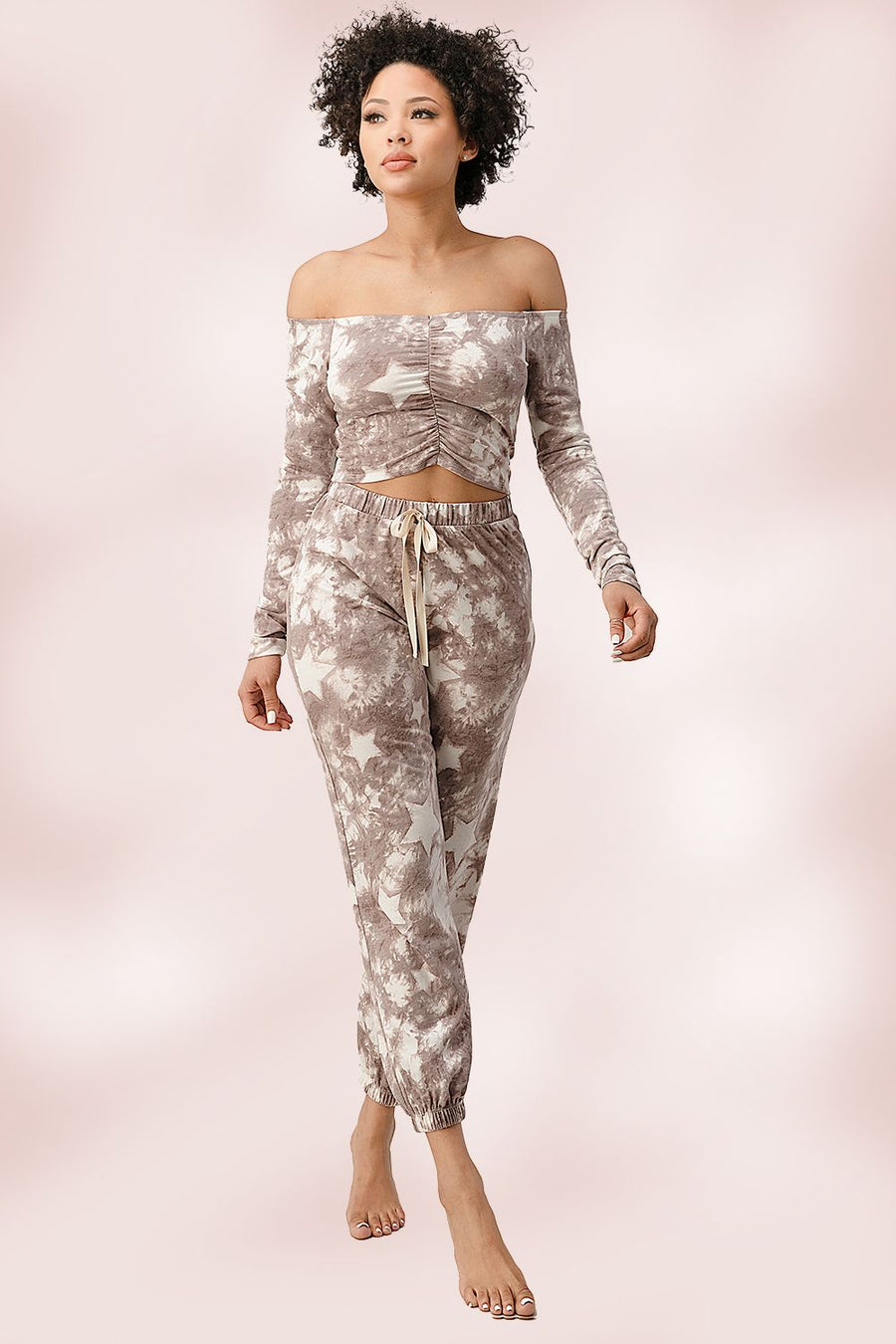 French Terry Tie Dyed Star Printed Off The Shoulder And Jogger Pants Set Mauve