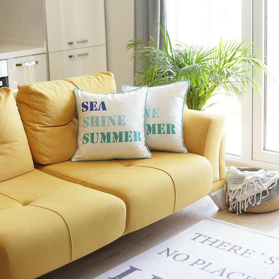 "Set of 2 18"" Sea Shine Summer Throw Pillow Cover in Multicolor"