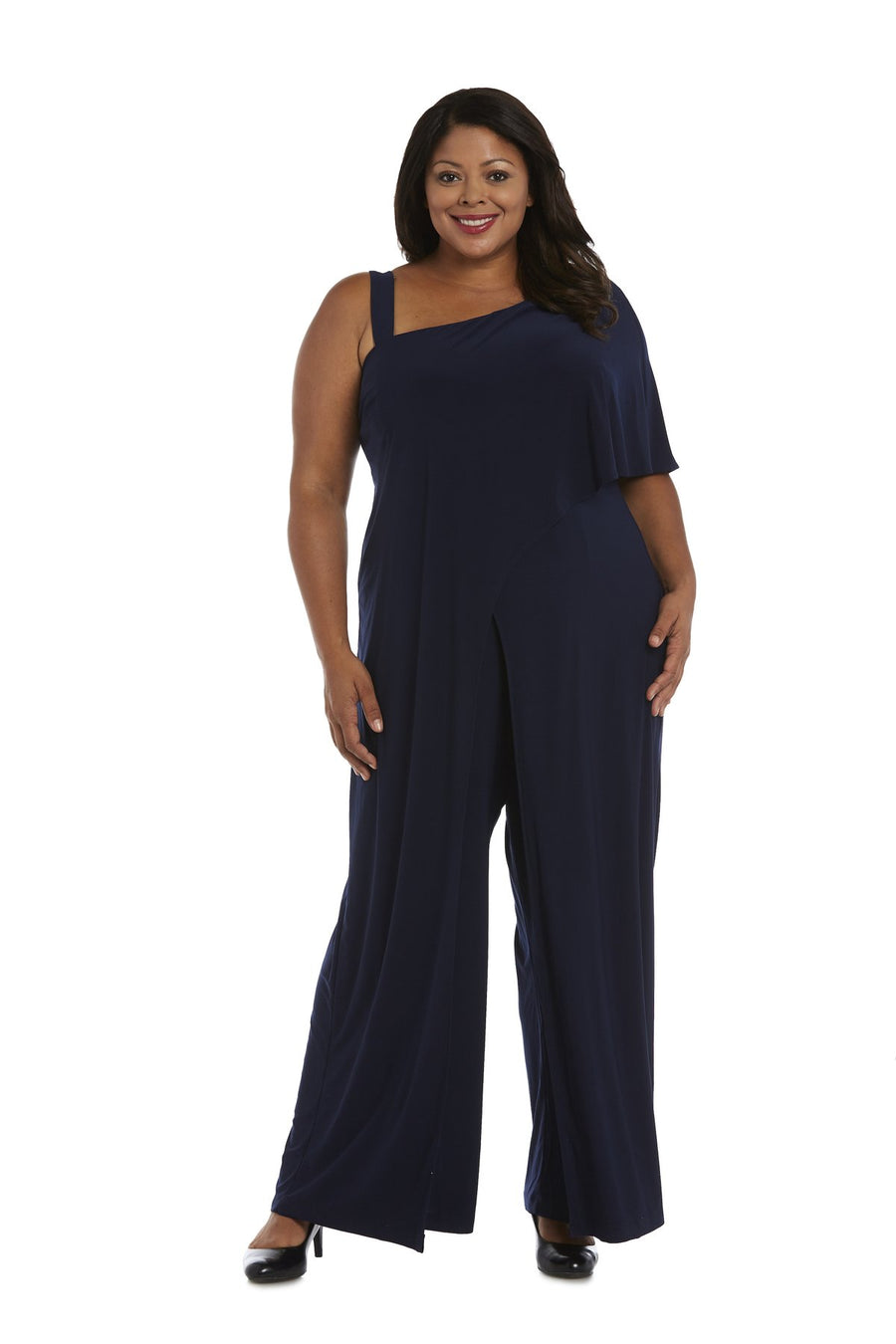 Asymmetric Jumpsuit with Overlay and Draped Sleeves - Plus Peacock