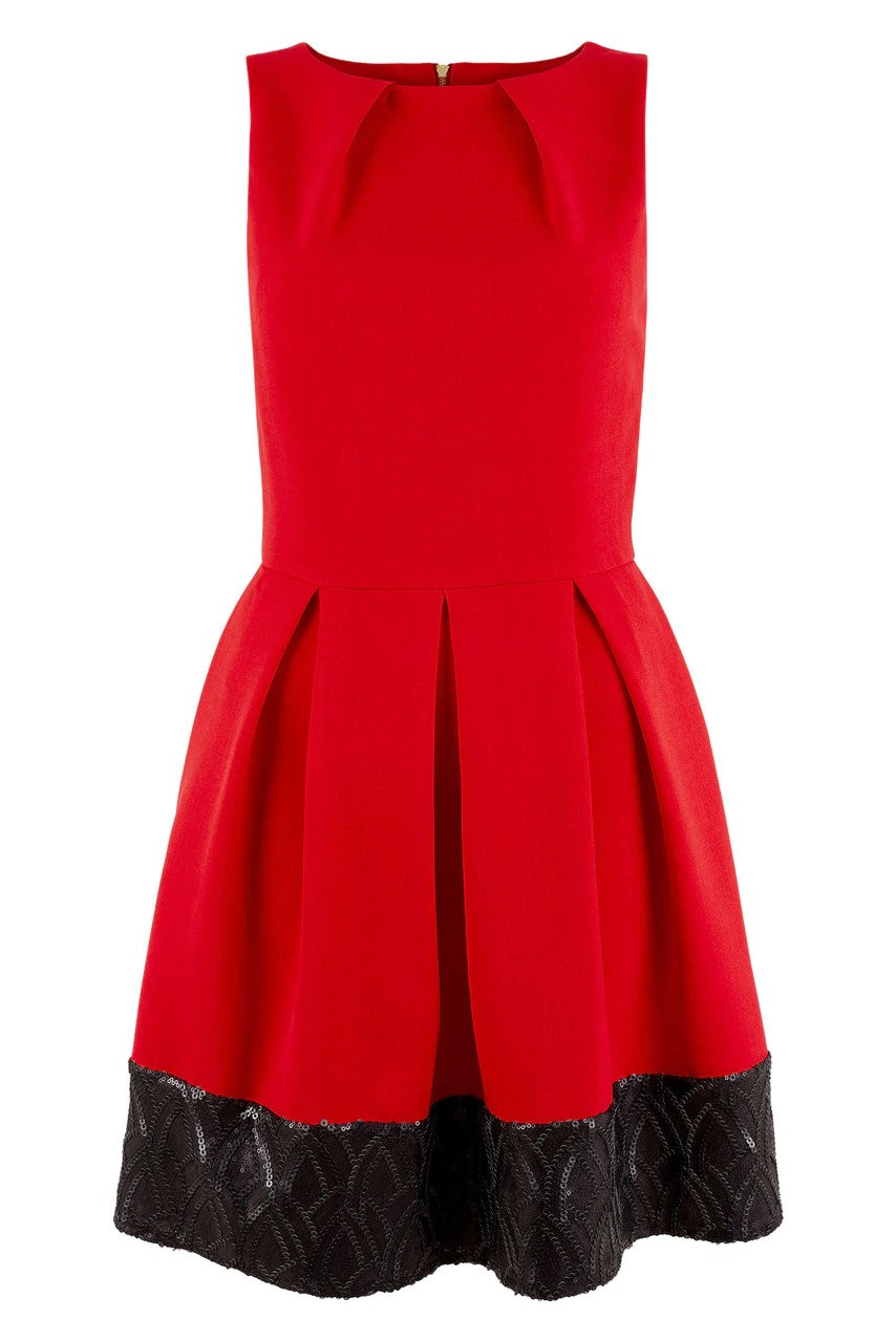 Red Skater Dress With Black Sequin Hem