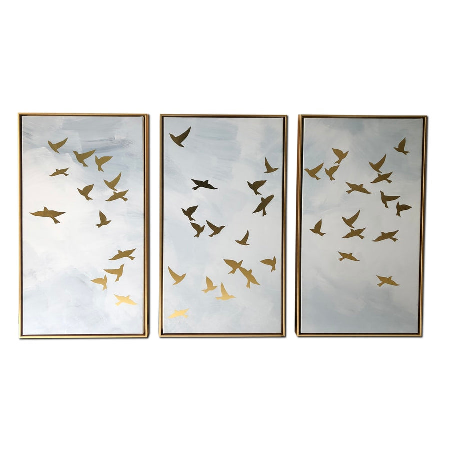 Golden Birds Triptych 48x30 Floating Canvas Wall Art