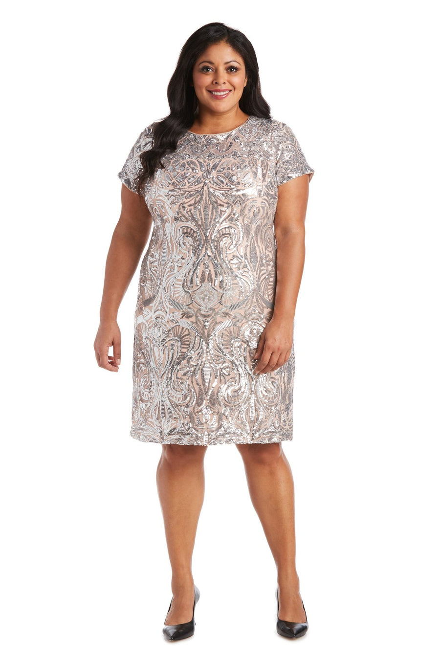 Sequin Short Sleeve Dress - Plus Silver / Nude